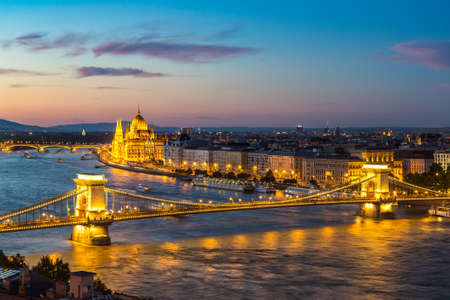 ISTANBUL, TURKEY - JULY 26, 2017: Panoramic view of Budapest and Parliament Building in Hungary in a beautiful summer night Editorial