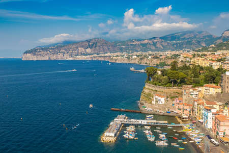SORRENTO, ITALY - JULY 28, 2017: Panoramic aerial view of Sorrento, the Amalfi Coast in Italy in a beautiful summer day Editorial