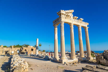 SIDE, TURKEY - JULY 28, 2017: Ruins of the Temple of Apollo in Side in a beautiful summer day, Antalya, Turkey