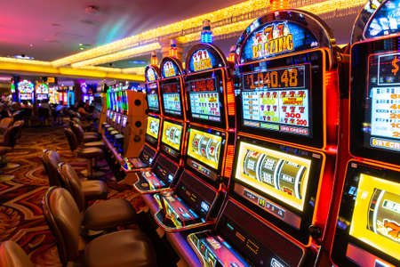 LAS VEGAS, USA - MARCH 29, 2020: Casino slot machine in Caesars Palace Las Vegas Hotel and Casino in Las Vegas, Nevada, USA