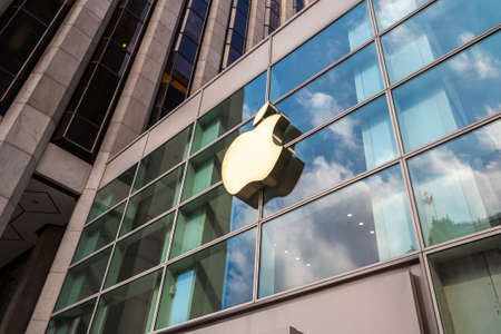NEW YORK CITY, USA - MARCH 15, 2020: Apple store logo at Apple Fifth Avenue in New York City, NY, USA