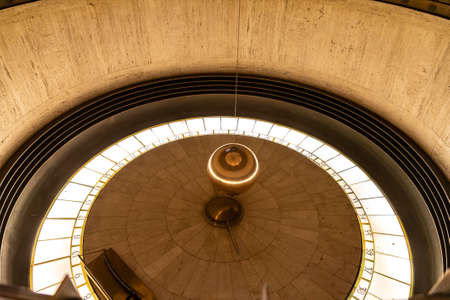 LOS ANGELES, HOLLYWOOD, USA - MARCH 29, 2020: Foucault Pendulum at Griffith Observatory in Los Angeles, California, USA