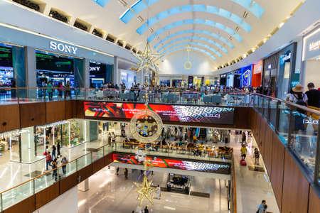 DUBAI, UAE - DECEMBER 25, 2019: Dubai Mall decorated for christmas holiday in Dubai, United Arab Emirates