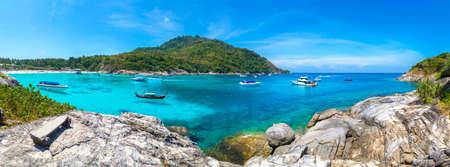 Panorama of Racha (Raya) resort island near Phuket island, Thailand in a summer day