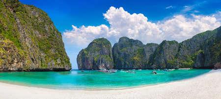 Panorama of Maya bay on Koh Phi Phi Leh island, Thailand in a summer day