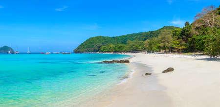 Panorama of Coral (Ko He) island near Phuket island, Thailand in a summer day