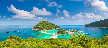Panorama of Nang Yuan Island, Koh Tao, Thailand in a summer day
