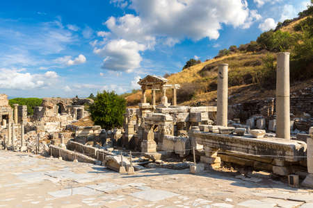 Ruins of the ancient city Ephesus, the ancient Greek city in Turkey, in a beautiful summer day Reklamní fotografie
