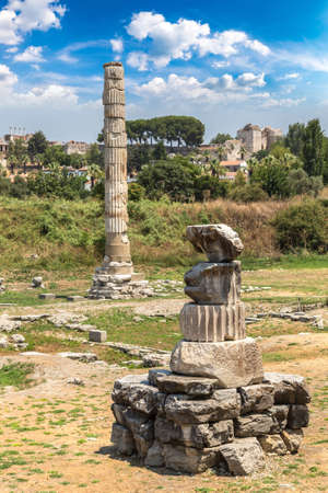 Ruins of Temple of Artemis at Ephesus in a beautiful summer day Reklamní fotografie
