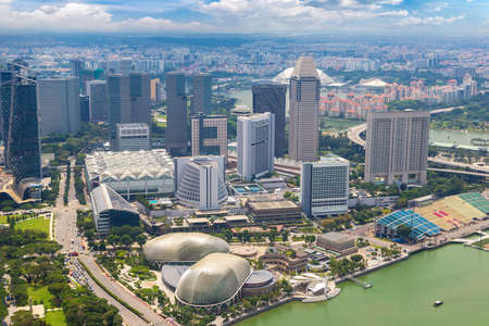 Panoramic aerial view of Singapore in a summer day Reklamní fotografie