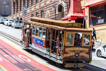 SAN FRANCISCO, USA - MARCH 29, 2020: The Cable car tram in San Francisco, California, USA Editorial