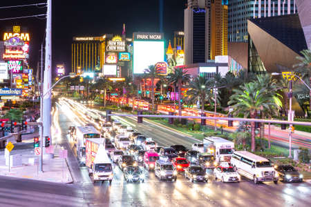 LAS VEGAS, USA - MARCH 29, 2020: Car light trails on the strip at night in Las Vegas, Nevada, USA
