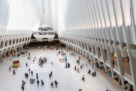 NEW YORK CITY, USA - MARCH 29, 2020: Oculus transportation hub at World Trade Center in New York City, NY, USA