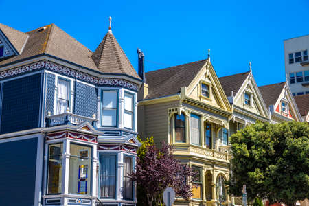 SAN FRANCISCO, USA - MARCH 29, 2020: The Painted Ladies - Victorian houses in San Francisco, California, USA
