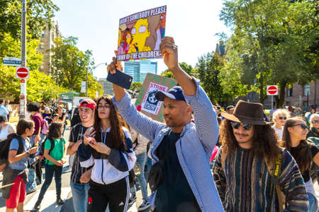 TORONTO, CANADA - SEPTEMBER 27, 2019: Global Strike for Climate and march for climate justice in Toronto, Ontario, Canada