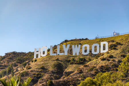 LOS ANGELES, HOLLYWOOD, USA - MARCH 29, 2020: Hollywood sign in Los Angeles, California, USA