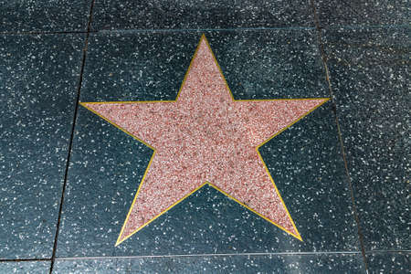 LOS ANGELES, HOLLYWOOD, USA - MARCH 29, 2020: One Empty star on Hollywood Walk of Fame in Los Angeles, California, USA Editorial
