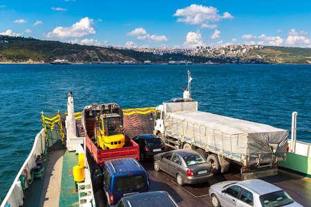 Ferry in Dardanelles strait, Turkey in a beautiful summer day