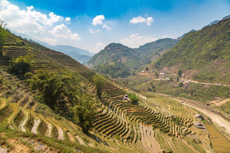 Panoramic view of Terraced rice field in Sapa, Lao Cai, Vietnam in a summer day Banque d'images