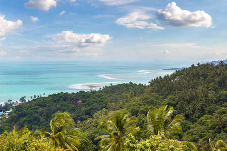 Panoramic aerial view of Koh Samui island, Thailand in a summer day