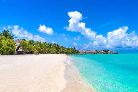 MALDIVES - JUNE 24, 2018: Tropical beach in the Maldives at summer day