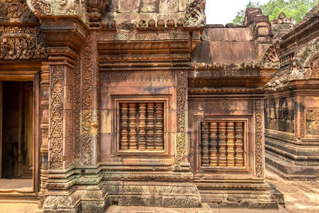 Banteay Srei temple in complex Angkor Wat in Siem Reap, Cambodia in a summer day
