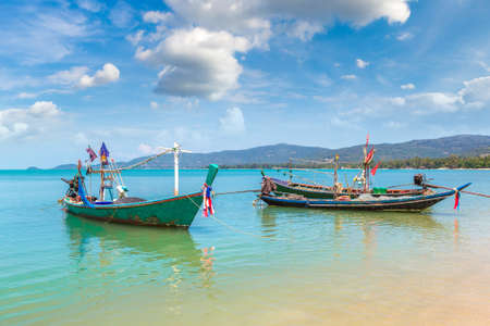 Fishing Boats on Koh Samui island, Thailand in a summer day Banque d'images