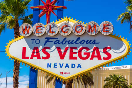 LAS VEGAS, USA - MARCH 29, 2020: Welcome to Fabulous Las Vegas sign on a sunny day in Las Vegas, Nevada, USA