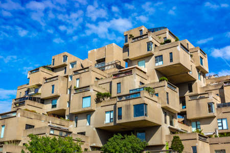 MONTREAL, CANADA - APRIL 2, 2020: Habitat 67 is a housing complex in Montreal in a sunny day, Quebec, Canada