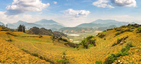 Panorama of Beautiful landscape in Sapa, Lao Cai, Vietnam in a summer day