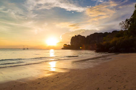 Sunset at Tropical Railay Beach in Krabi, Ao Nang, Thailand