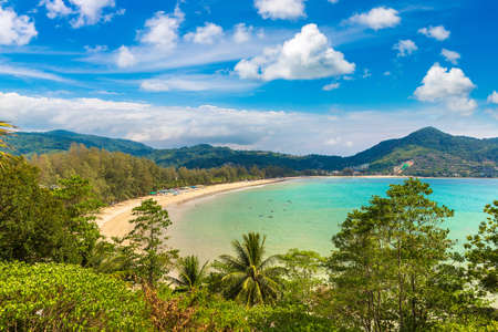 Panoramic view of Kamala beach on Phuket island, Thailand in a sunny day