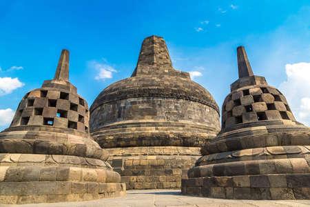Buddist temple Borobudur near Yogyakarta city, Central Java, Indonesia Фото со стока