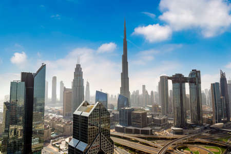 Panoramic Aerial view of downtown Dubai in a summer day, United Arab Emirates Standard-Bild