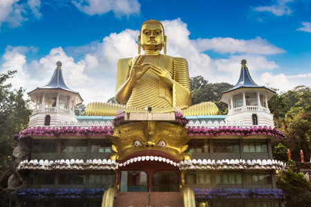 The Golden Temple in sunny day in Dambulla, Sri Lanka