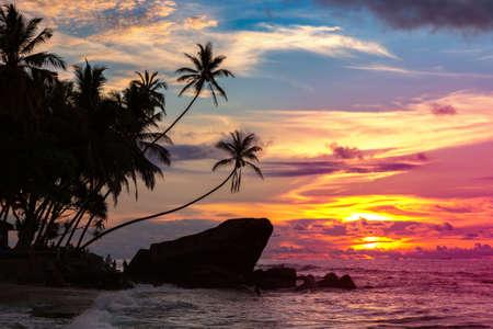 Sunset at Dalawella beach in Sri Lanka