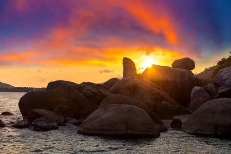 Sunset at Hin Ta Hin Ya - Grandfather and Grandmother Rock on Koh Samui island, Thailand in a summer day