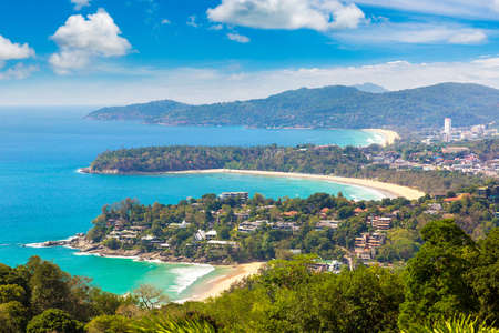 Panoramic view of Karon View Point at Phuket in Thailand in a summer day Фото со стока