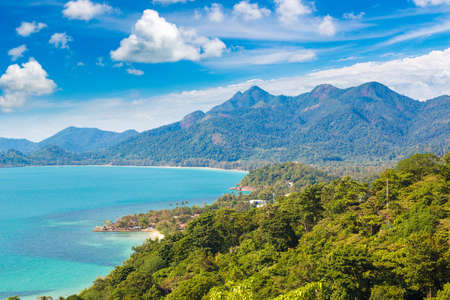 Panoramic aerial view of Koh Chang island, Thailand in a sunny day