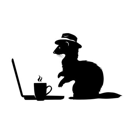 Ferret with hat typing news and drinking coffee.