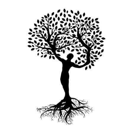 abstrakter menschlicher Baum, Person mit Wurzeln, Zweigen und Blättern