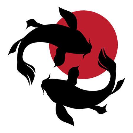 Pesci Koi E Sole Rosso. Fortuna, prosperità e buona fortuna. Vettoriali