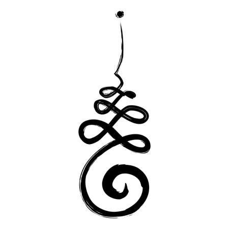 Símbolo budista para el camino de la vida con flor de loto, Unalome