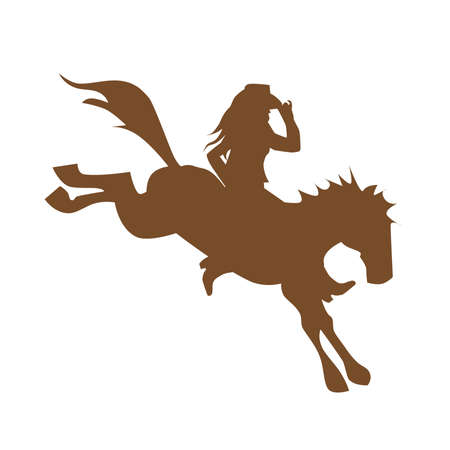 Cowgirl auf wildem Pferd