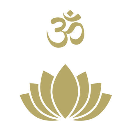 gold lotus flower with OM sign