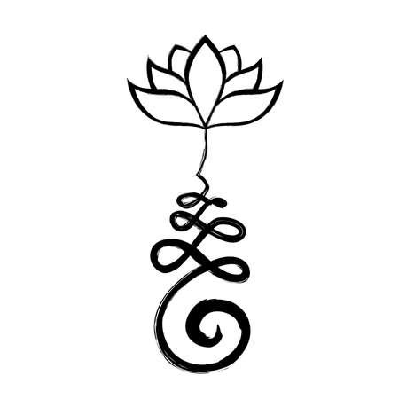 Buddyjski symbol ścieżki życia z kwiatem lotosu, Unalome
