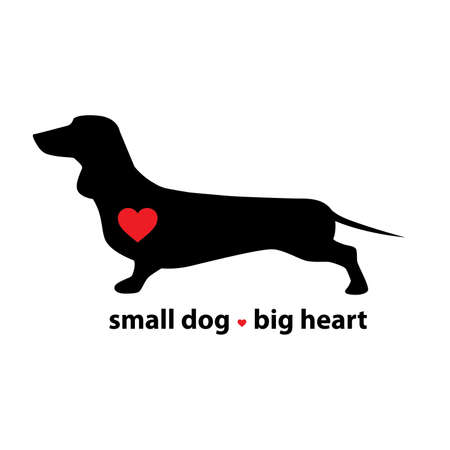 dachshund small dog with big heart Illustration