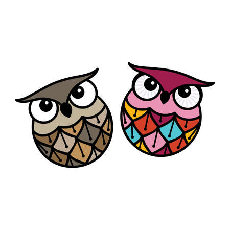 colorful owls couple