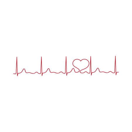 red heart and cardiogram Stock Vector - 102596604