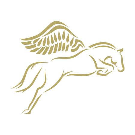 Pegasus. Gold horse with wings Illusztráció